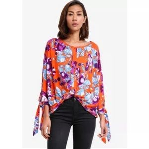Free People Floral Multi Color Jersey Top